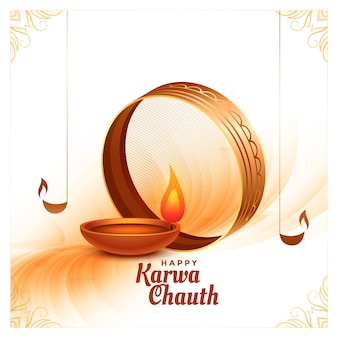 Creative happy karwa chauth festival card with realistic diya