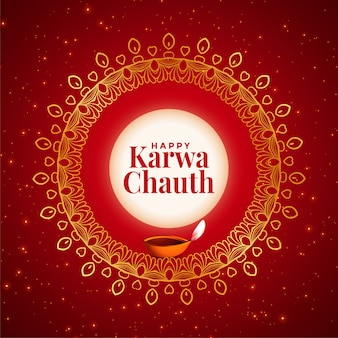 Creative happy karwa chauth festival decorative card