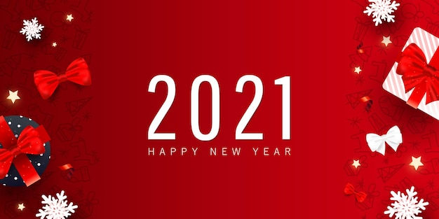 Creative happy new year and merry christmas holiday banner.