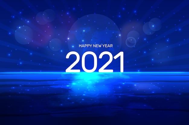 Творческий с новым годом стильный синий фон концепция океана и космоса