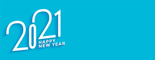 Creative happy new year  in white and blue background