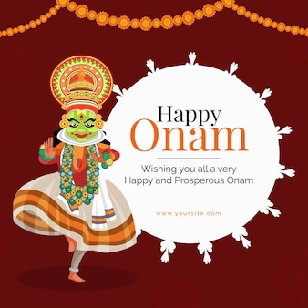 Creative happy onam  with decorative background