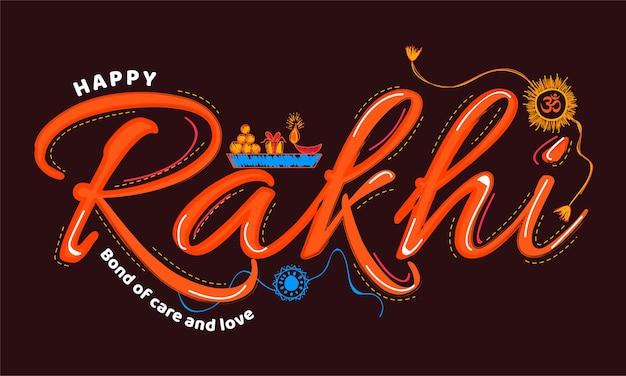 Creative happy raksha bandhan typography vector.