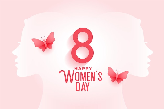 Creative happy women's day card with butterfly
