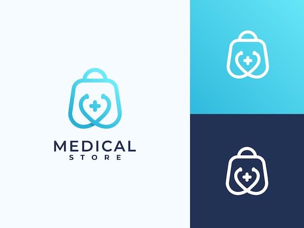 Creative health care medical logo, shopping logo
