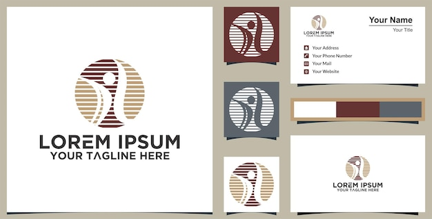 Creative healthy people concept logo design and business card premium