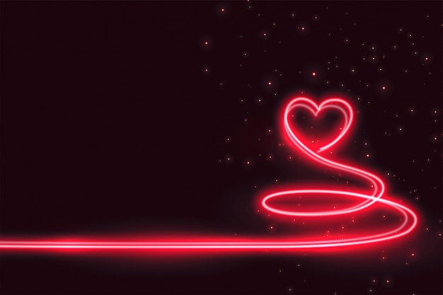Creative heart made in neon light background