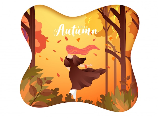 Creative hello autumn background.