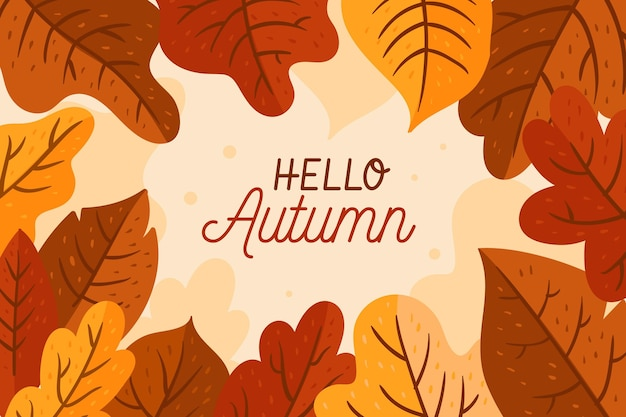Creative hello autumn leaves wallpaper