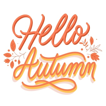 Creative hello autumn lettering with leaves
