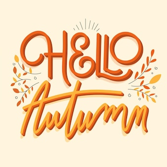 Creative hello autumn lettering