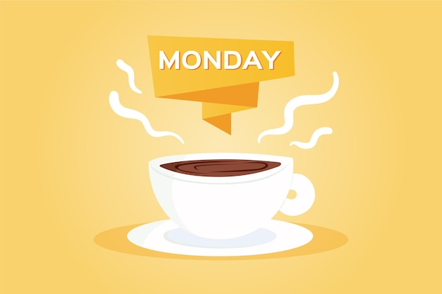 Creative hello monday background with cup of coffee