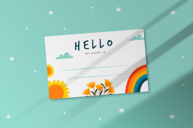 Creative hello my name is label template
