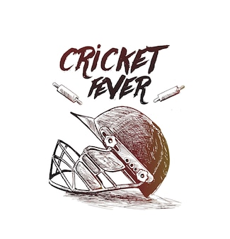 クリケット選手権コンセプトのクリエイティブヘルメット