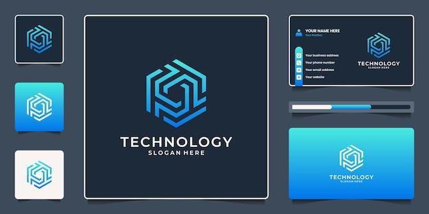 문자 t 추상 로고 디자인과 명함이 있는 창의적인 육각형 모양.