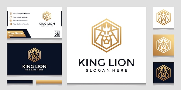 Творческий шестиугольник с вдохновением логотипа концепции льва. и дизайн визиток