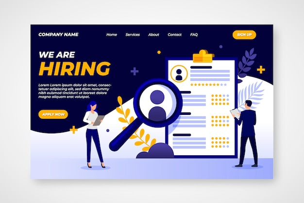Creative hiring landing page illustrated