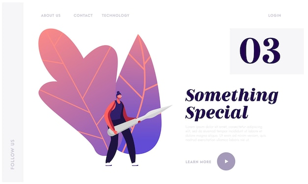 Creative hobby, creation sculptures of veggies and fruits landing page template