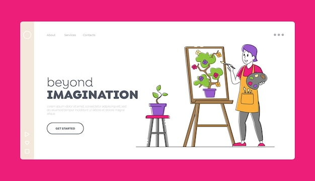 Creative hobby, drawing art class, workshop landing page template