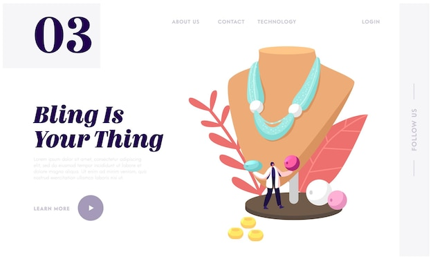 Creative hobby, handcraft for selling, jewelry bijouterie landing page template.