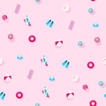 ピンクの背景に夏の休暇のアクセサリーの創造的な休日パターン。夏と休暇の概念