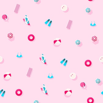 Creative holidays pattern of summer vacation accessories on a pink background. summer and vacations concept