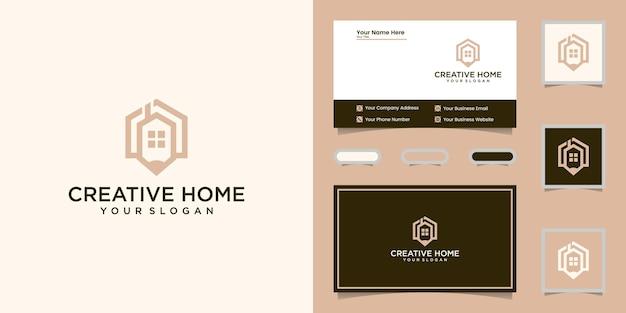 創造的な家と鉛筆のロゴ線画スタイルと名刺