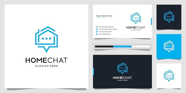 Творческий домашний чат объединяет значок дома, разговора и пузыря. символ значок логотип социального приложения и визитная карточка
