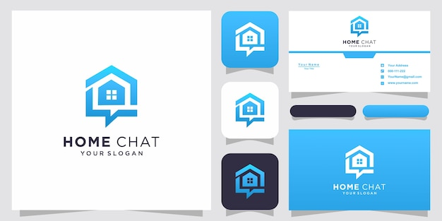 Creative home chat combine icon home talk and bubble and business card