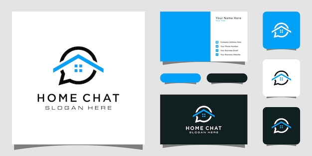 Creative home chat logo template and business card