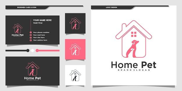 Креативный дизайн логотипа домашней собаки с современным стилем лайн-арта и дизайном визитной карточки premium vekto