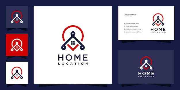 Creative home location logo icon and business card design