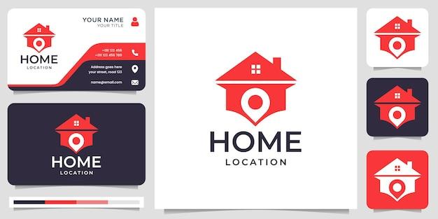 평면 스타일과 명함 디자인이 있는 창의적인 홈 위치 로고. 프리미엄 벡터