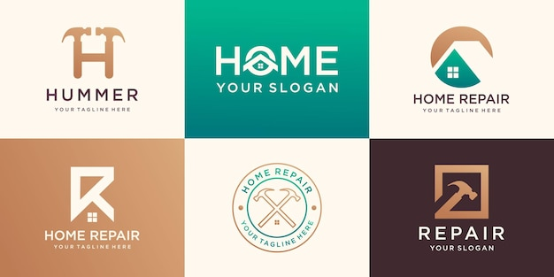 Creative home logo collection combined hammer element, abstract buildings logo set.