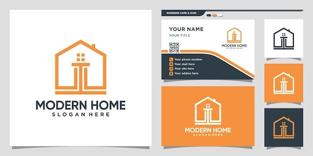 モダンなコンセプトと名刺デザインプレミアムベクトルで創造的な家のロゴデザインのインスピレーション