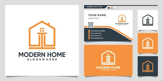 Creative home logo design inspiration with modern concept and business card design premium vector