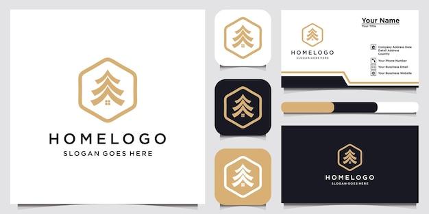 Креативный домашний логотип дизайн шаблона и визитная карточка