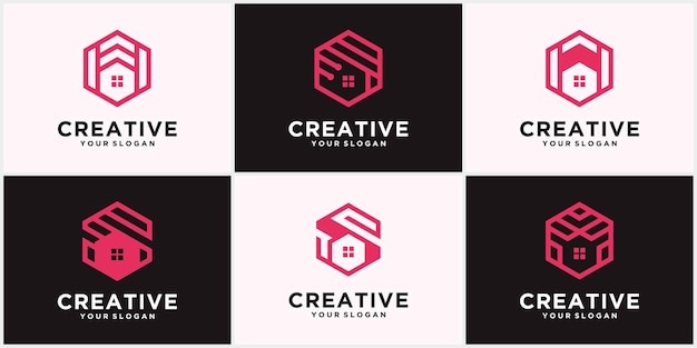 クリエイティブホームロゴ、不動産ロゴ、クリエイティブホームロゴコレクション、ホームロゴセット。派手な色のベクトルイラストレーター