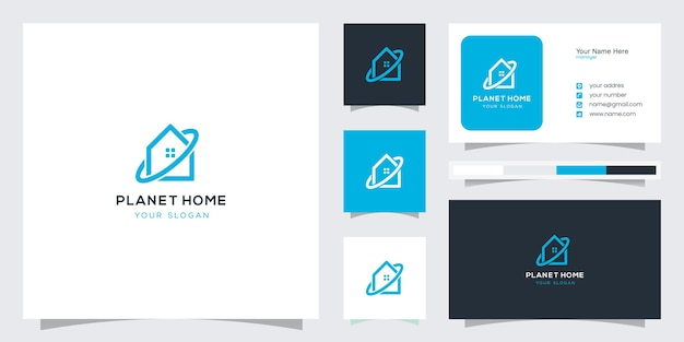 Creative home planet logo concept and business card design