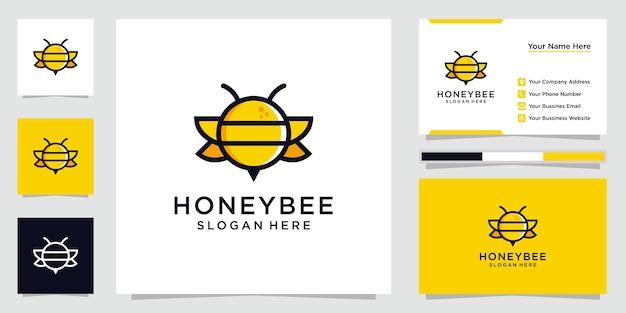 Творческое вдохновение логотипа медоносной пчелы. дизайн логотипов, иконок и визиток премиум векторы.