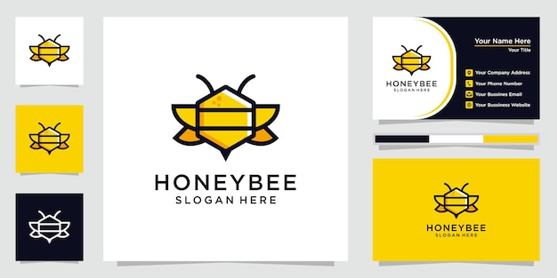 Креативный логотип медоносной пчелы с визитной карточкой.