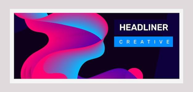 黒の背景にピンクと青のビジネス抽象化の創造的な水平イラスト