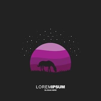 Креативная лошадь ночью дизайн-концепции