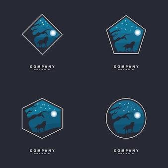 Creative horse at night design concepts illustration Premium Vector