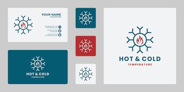 Creative hot and cold logo design temperature icon fire with snow