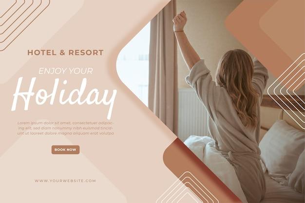 Креативный шаблон баннера отеля с фото