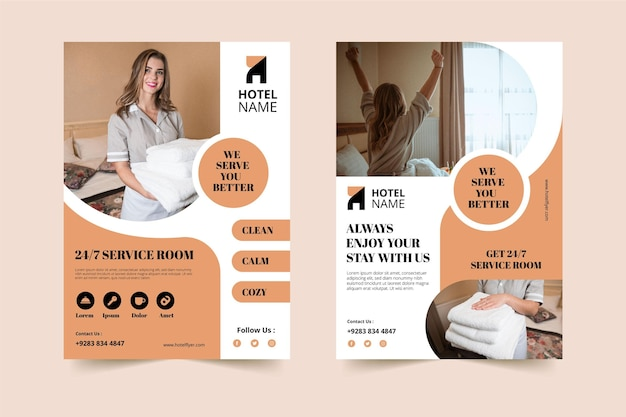 Creative hotel information flyer template with photo