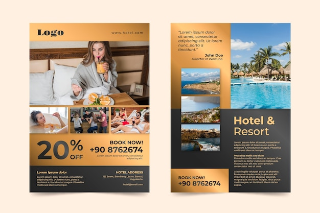 Creative hotel information flyer with photo