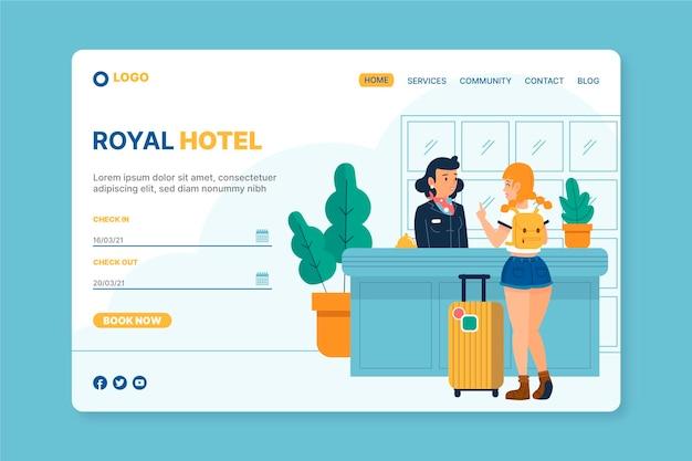 일러스트와 함께 창조적 인 호텔 방문 페이지 무료 벡터