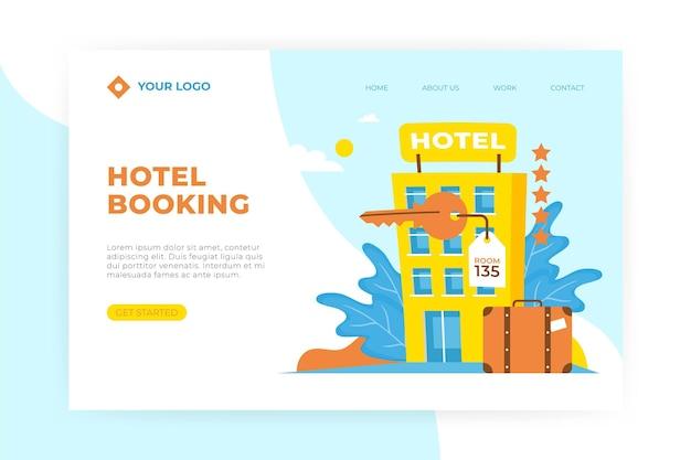 일러스트와 함께 창조적 인 호텔 방문 페이지